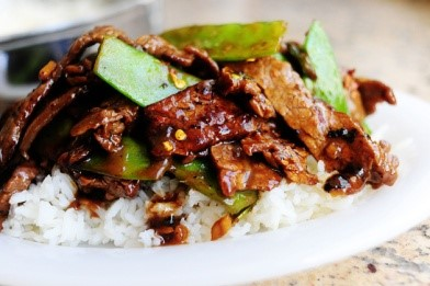 Mongolian Beef with Snow Peas over Jasmine Rice