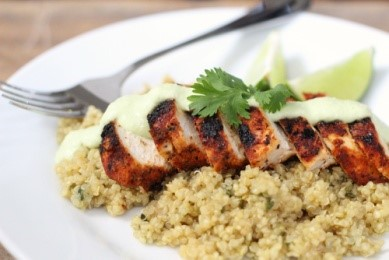Blackened Chicken with Avocado Cream and Cilantro Lime Quinoa