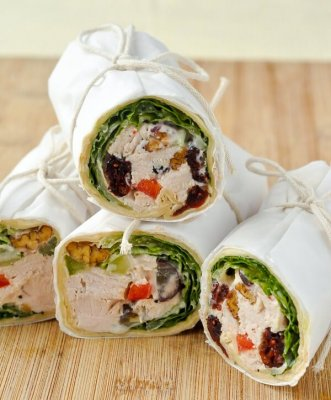 Turkey Waldorf Salad Sandwich Wraps