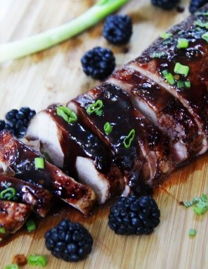 Blackberry Hoison Ginger Pork Tenderloin with Whipped Sweet Potatoes*