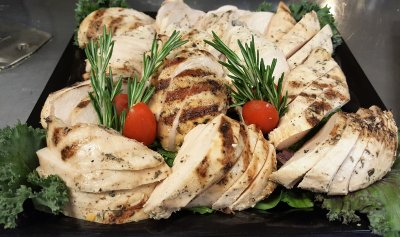 Rosemary Marinated Grilled Chicken Platter With Mediterranean Orzo