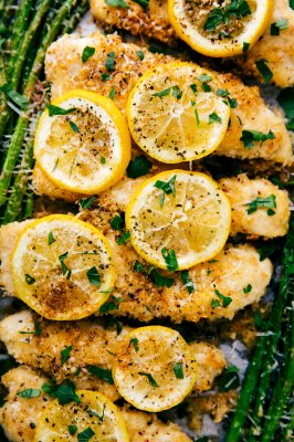 Lemon Parmesan Chicken and Roasted Asparagus