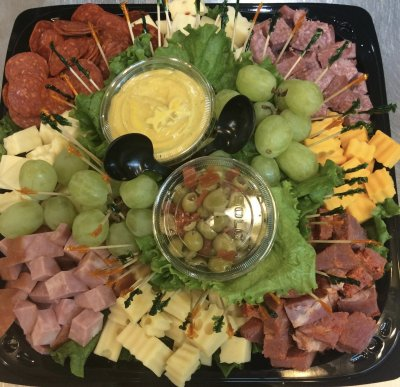 Cheese, Italian Meats & Olives with Crackers Tray