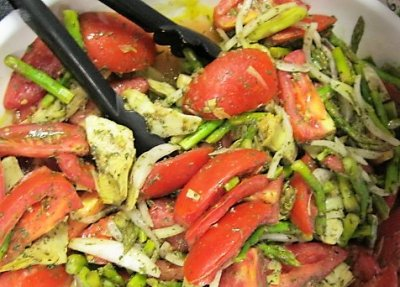 Tomato, Artichoke and Asparagus Salad