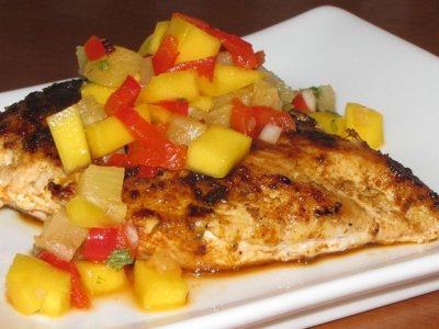 New Orleans Cajun Chicken topped with a Mango Salsa and Sweet Corn Rice