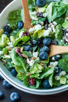 Blueberry Broccoli Spinach Salad (June 2017)