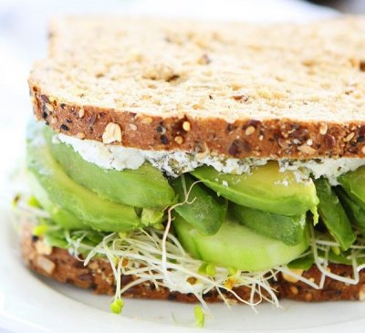 Cucumber and Avocado Sandwich (Vegetarian)