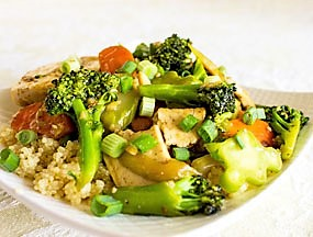 Asian Stir-Fry Veggie on a Bed of White Rice