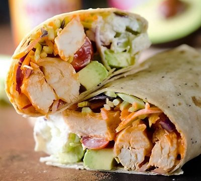 Healthy Buffalo Chicken and Avocado Wrap