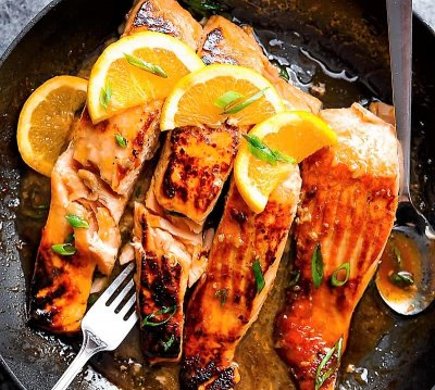 Crsipy Honey Orange Glazed Salmon with Roasted Sweet Potatoes