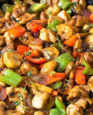 Croatian Chicken Mushroom Pepper Skillet with Jasmine Rice